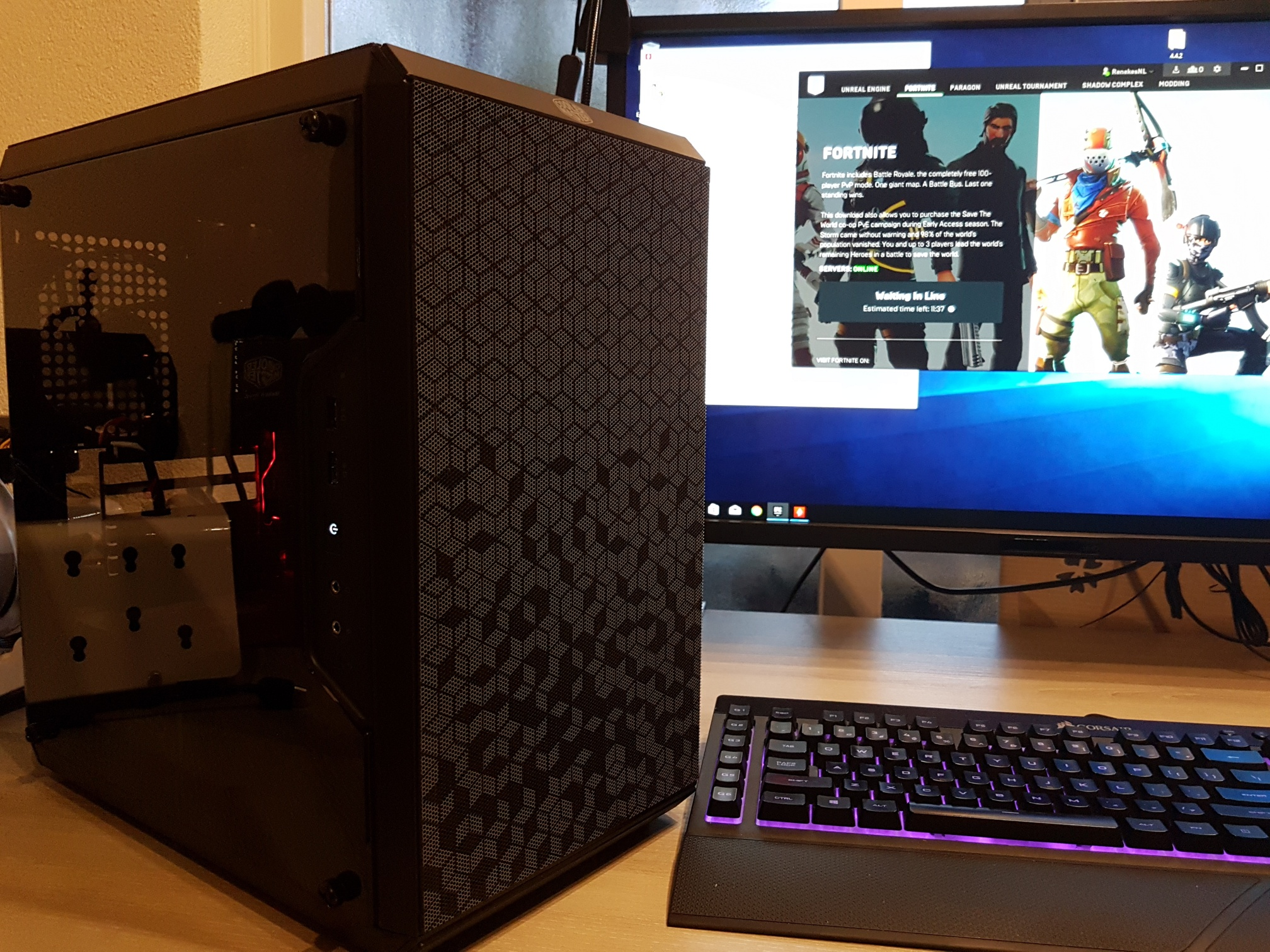 A Fornite budget build in the Cooler Master Masterbox Q300L